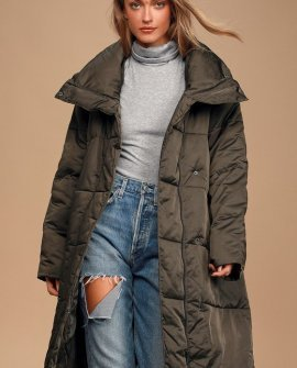 Best Intentions Olive Green Midi Puffer Jacket