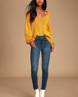 Cozy Commitment Mustard Yellow V-Neck Knit Sweater