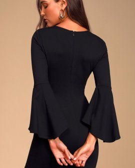 Gimme Some Flair Black Flounce Sleeve Bodycon Dress