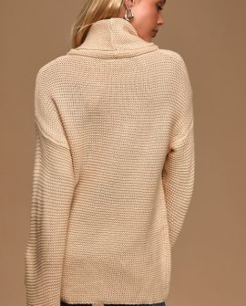 Found the One Cream Knit Turtleneck Sweater