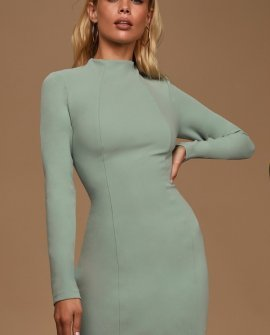 All That You Wish For Sage Green Mock Neck Cutout Bodycon Dress