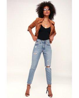 501 Skinny Distressed Light Wash Jeans