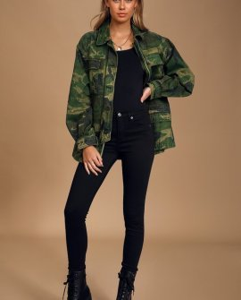 Seize The Day Green Camo Print Utility Jacket