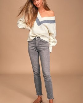 Cozy Talks Cream V-Neck Long Sleeve Sweater