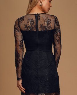 Ready or Hot Black Lace Long Sleeve Bodycon Mini Dress