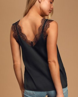 Forever Flirty Black Lace Cami Top