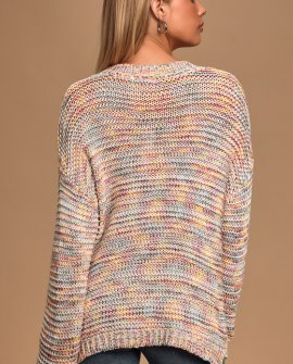 Cinque Terre White Multi Ribbed Knit Sweater