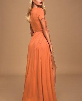 Evolve Rust Orange Wrap Maxi Dress