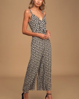 Cheerful Moment Black Floral Print Tie-Front Wide-Leg Jumpsuit