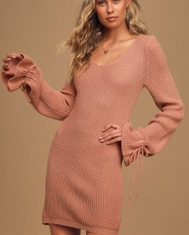 Sweet Promises Mauve Pink Knit Bell Sleeve Sweater Dress