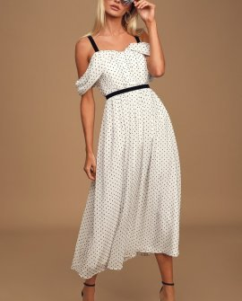 Love to Love Black and White Swiss Dot Cold-Shoulder Midi Dress