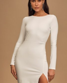 Ground Rules White Backless Long Sleeve Bodycon Dress