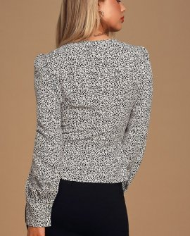 Sweet Spot White Cheetah Print Long Sleeve Button-Up Top