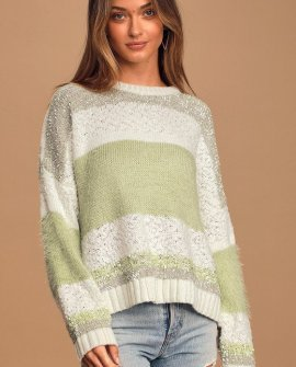 Believe in Fate Sage Green Multi Striped Knit Pullover Sweater