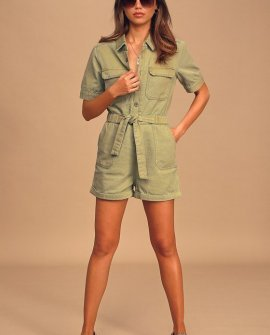Rumor Has It Olive Green Denim Short Sleeve Button-Up Romper