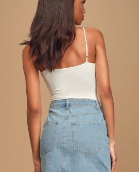 Don't Tempt Me Light Blue Denim Mini Skirt