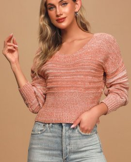 Spiagga Heather Rusty Rose Ribbed Knit Sweater