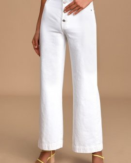 Old Mate White High Rise Wide-Leg Jeans
