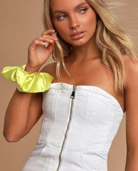 Vixen White Denim Zip-Front Mini Dress