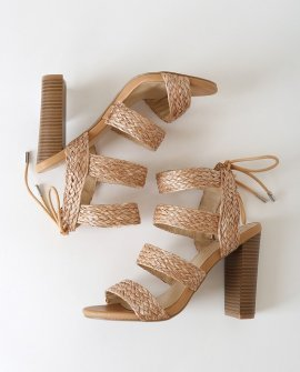 Marlena Tan Raffia Caged Lace-Up Heels