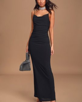 At a Glance Black Cowl Neck Mermaid Maxi Dress