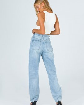 Holly Asymmetric Straight Leg Jean Light Wash Denim