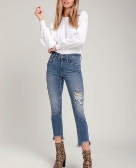 724 Medium Wash Distressed High-Rise Straight Cropped Jeans