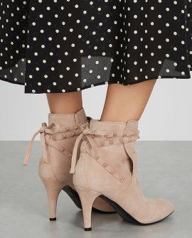 Valentino Garavani Rockstud Flair 85 blush suede ankle boots