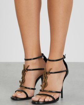 Saint Laurent Cassandra 100 black leather sandals