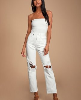 90's Mid Rise White Loose Fit Distressed Jeans