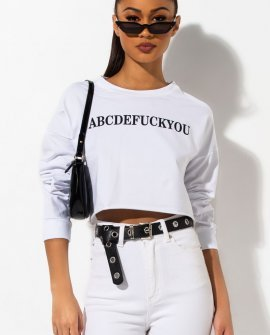 ABCD F You Long Sleeve Crop Top