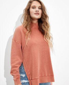 AE Fleece Side Slit Mock Neck Sweatshirt