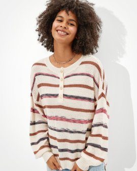 AE Striped Henley Sweater