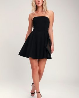 About a Twirl Black Strapless Skater Dress