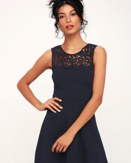 According to Love Navy Blue Lace Skater Dress