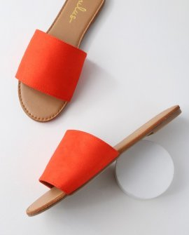 Addison Orange Suede Slide Sandal Heels