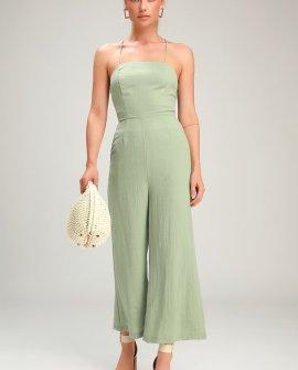 Adelia Sage Green Lace-Up Culotte Jumpsuit