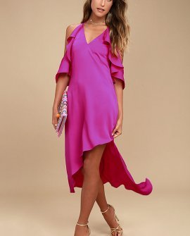 Adelyn Rae Oliana Magenta Midi Dress