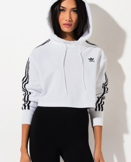 Adidas Womens Three Stripe Cropped Hoodie