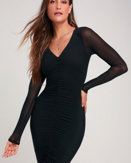 Adore Me Black Mesh Ruched Long Sleeve Bodycon Dress