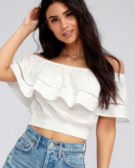 Adventure Abroad White Off-the-Shoulder Crop Top