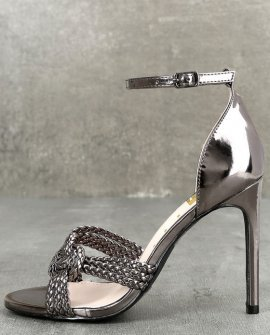 Aerilyn Pewter Ankle Strap Heels