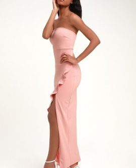 After Hours Blush Pink Strapless Ruffled Maxi Dress
