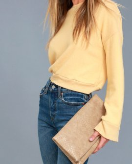 After Party Beige Snake Print Clutch