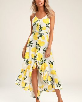 Afternoon Air Yellow Lemon Print High-Low Midi Dress