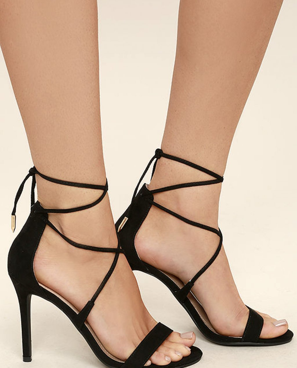 Aimee Black Suede Lace-Up Heels