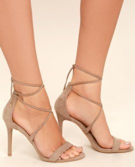 Aimee Taupe Suede Lace-Up Heels