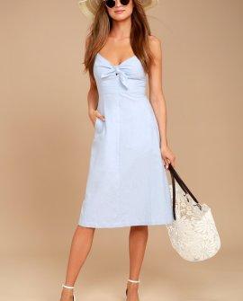 Ain't No Other Light Blue Chambray Midi Dress