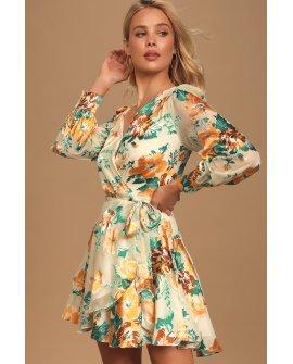 Aja Cream Multi Floral Print Long Sleeve Wrap Mini Dress