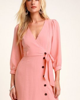 Aja Light Pink Three-Quarter Balloon Sleeve Dress